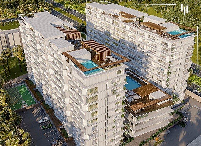 Desarrollo inmobiliario inteligente en Merida, Yucatán. AURA SMART LUXURY LIVING. Render de las 3 Torres del Proyecto: