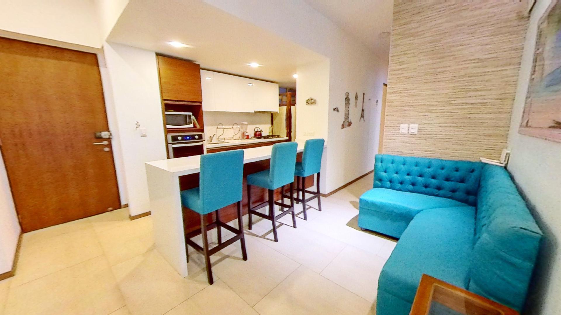 Venta departamento de 3 recámaras en City Towers Green, Colonia Santa Cruz. Sala-cocina
