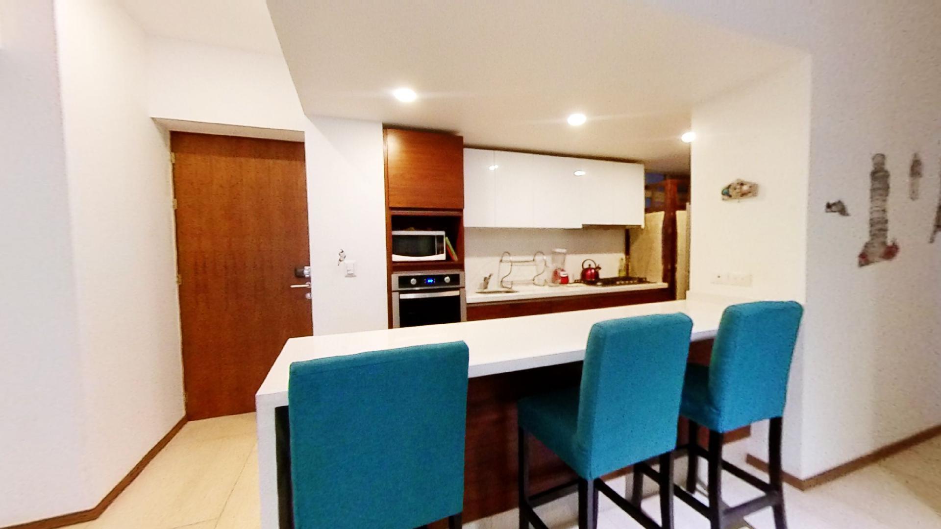 Venta departamento de 3 recámaras en City Towers Green, Colonia Santa Cruz. Barra de Cocina